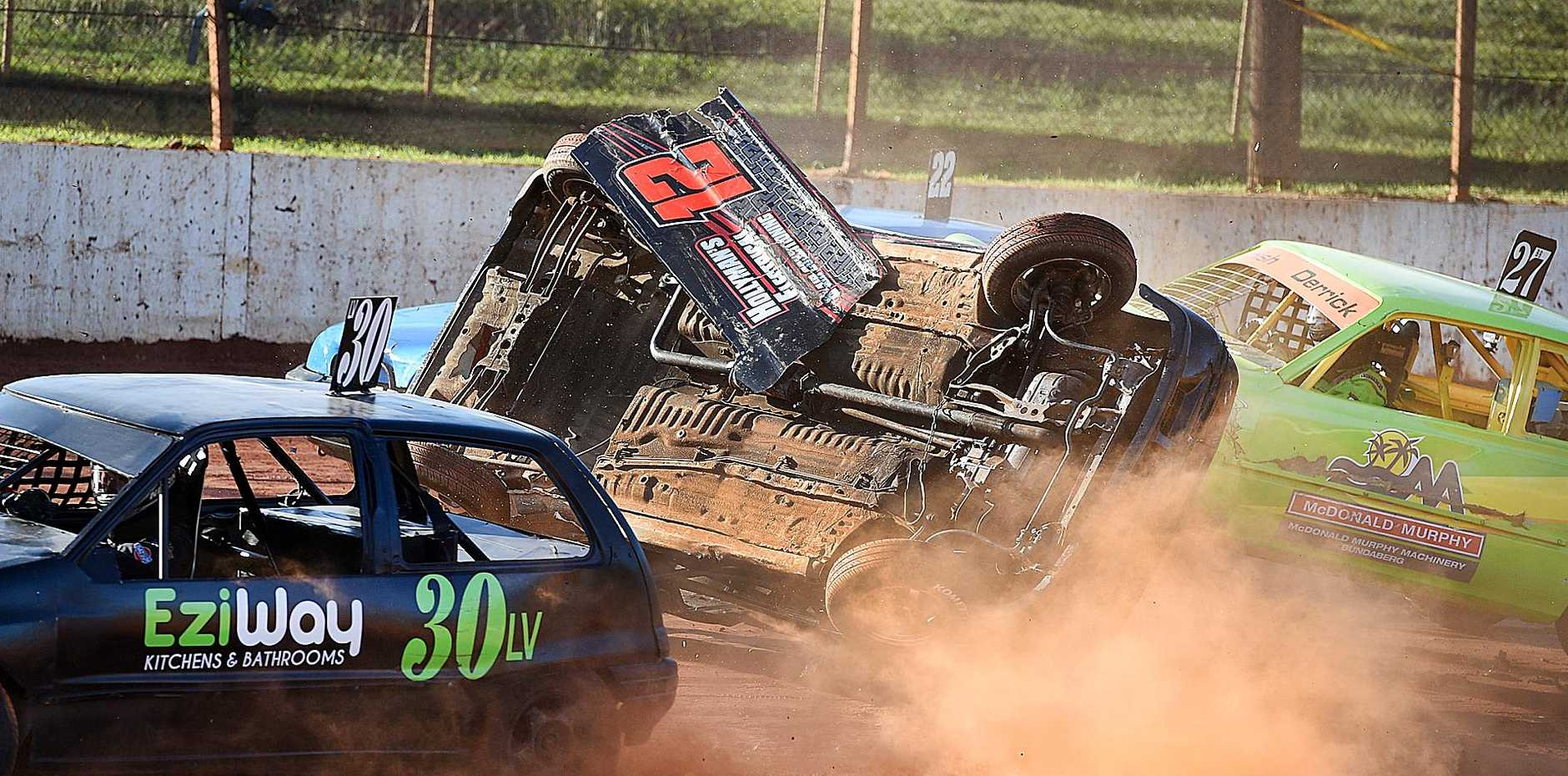 ROLLING: Junior Sedans New Stars driver Brodie Hollyman gets turned around and then rolls at Maryborough Speedway.