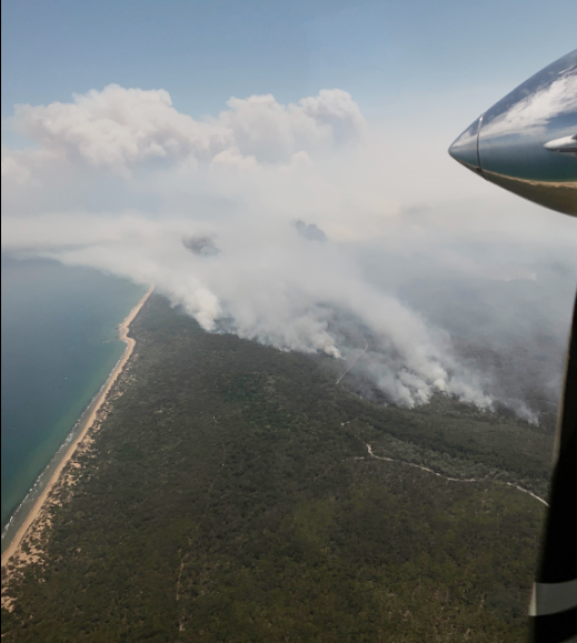 The Queensland Fire and Rescue Service has released images showing smoke billowing from the Deepwater area.