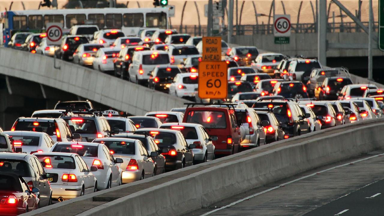 Traffic moves along the Warringah Freeway during rush hour in Sydney.