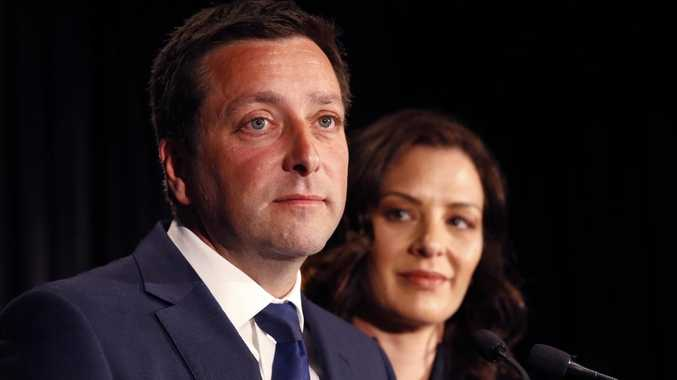 Victorian Liberal Party leader Matthew Guy announces his defeat to the supporters. Picture: David Caird