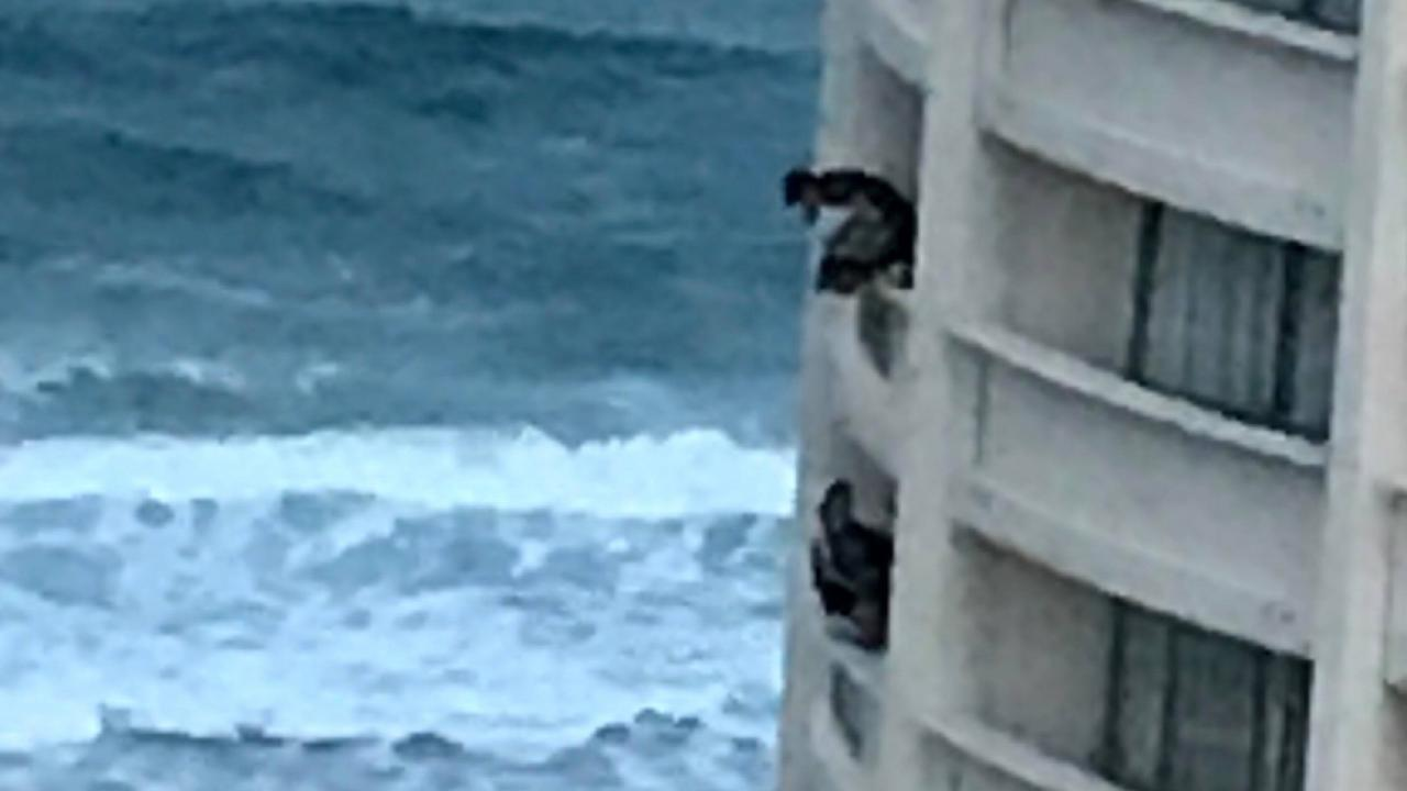 Schoolies lean over the balcony on the Gold Coast.