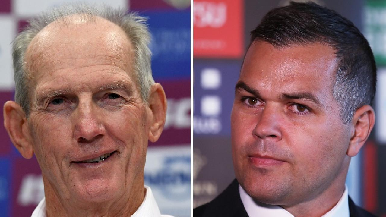 Wayne Bennett and Anthony Seibold could still trade places for 2019. Photo: Courier Mail