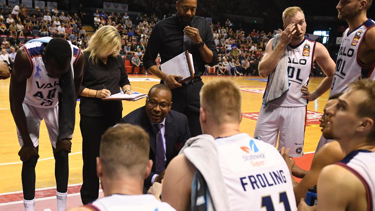 Adelaide 36ers coach Joey Wright gets his point across to his players.