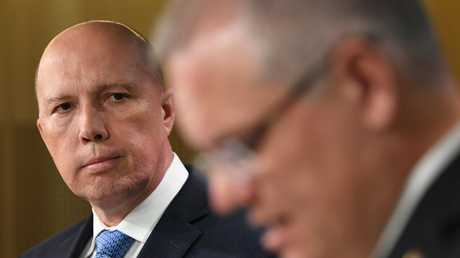 Home Affairs Peter Dutton with Prime Minister Scott Morrison. Picture: Joel Carrett/AAP