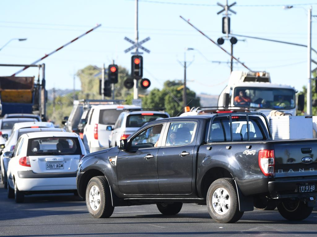 Traffic congestion at the intersection of Morphet Road and Anzac Highway in South Australia. In SA, 11am-noon on a Sunday is the worst time to drive. Picture: AAP
