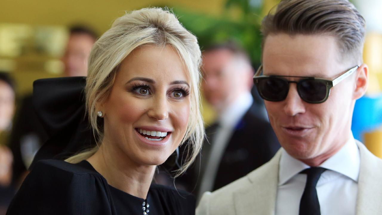 Roxy Jacenko and Oliver Curtis in the Myer marquee on Derby Day at Flemington racecourse during the 2017 spring racing carnival. Picture: Aaron Francis/The Australian