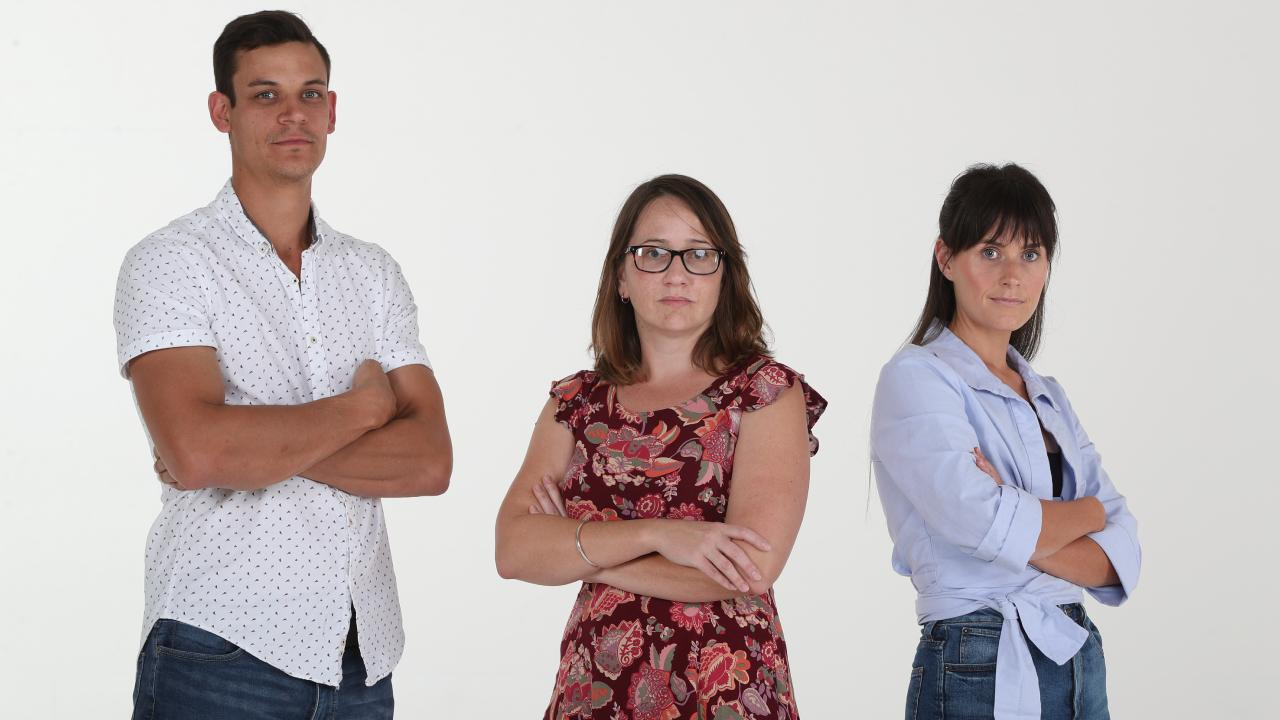 The Sunday Mail parenting jury: Dani Westport (left), Nicolas Bonastre and Elisha Casagrande