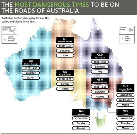 A map of the most dangerous times to be on the road across Australia based on research from the last seven years. Picture: Supplied/Teletrac Navman
