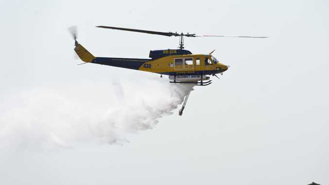 A water bombing helicopter that is part of the QFES Toowoomba Air Operations fleet
