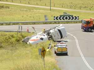 Driver has lucky escape in truck rollover