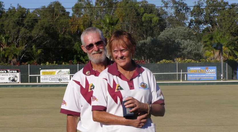 William and Gail Karran pictured at a bowls event before Gail's death in November 2017. William Karran has been charged with more than 20 offences including manslaughter.