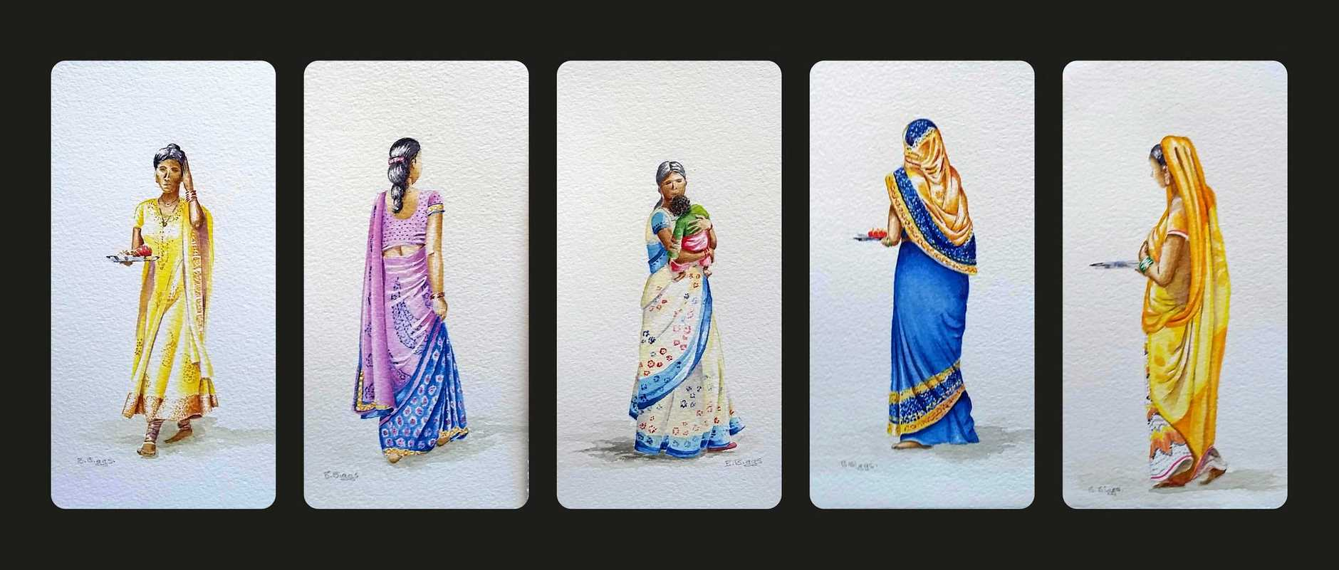 Long panel of 5 different sari pics in watercolour India.