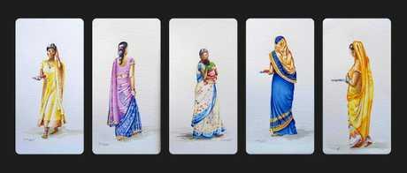 Long panel of 5 different sari pics in watercolour India.