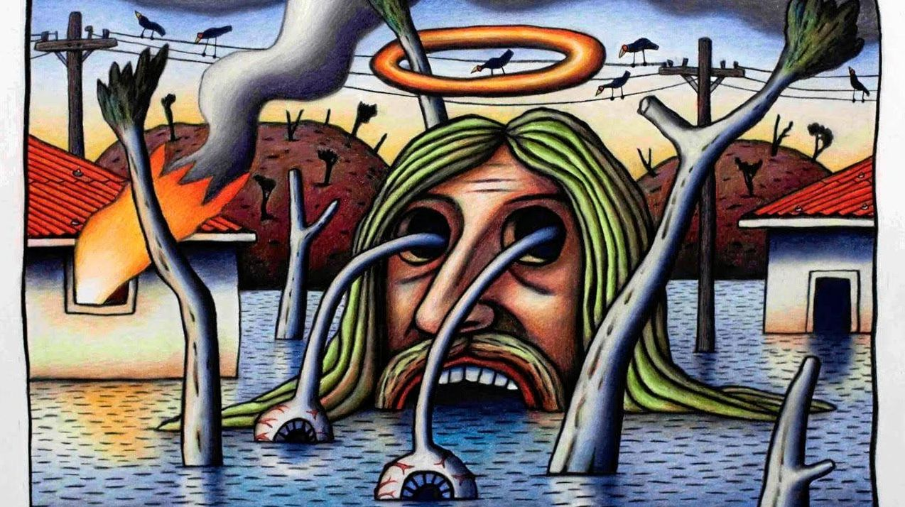 FIRE AND WATER: Jesus up to his eyeballs in it.