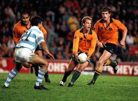 Michael Lynagh weaves his magic in Australian colours.