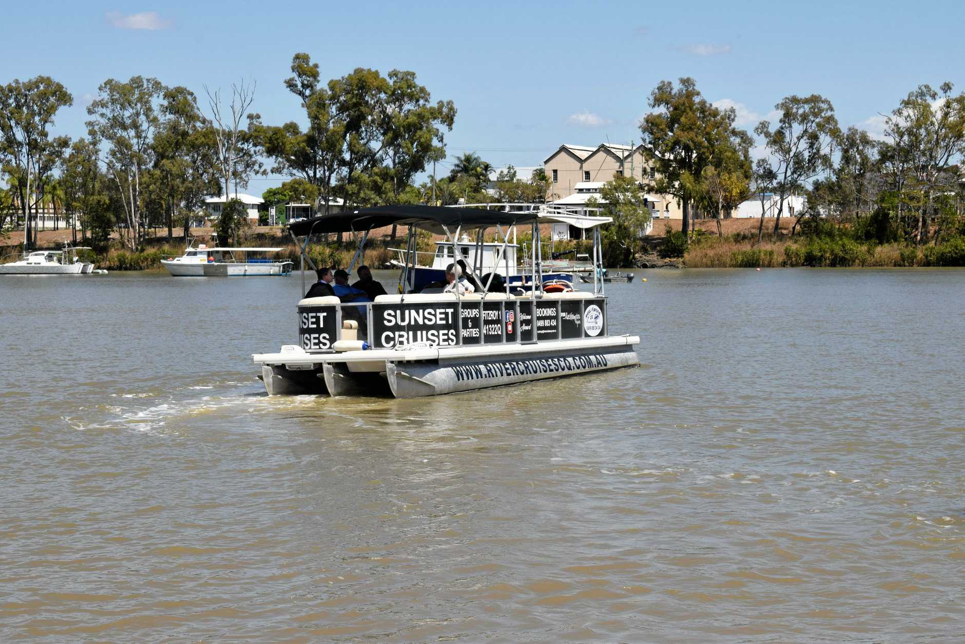 Craig Robertson runs River Cruise CQ scenic tours and is finding the jellyfish are a problem when idling.
