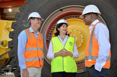 MINING SUPPORT: Mines Minister Anthony Lynham, Premier Annastacia Palaszczuk meet with Adani's Jeyakumar Janakaraj in 2016.