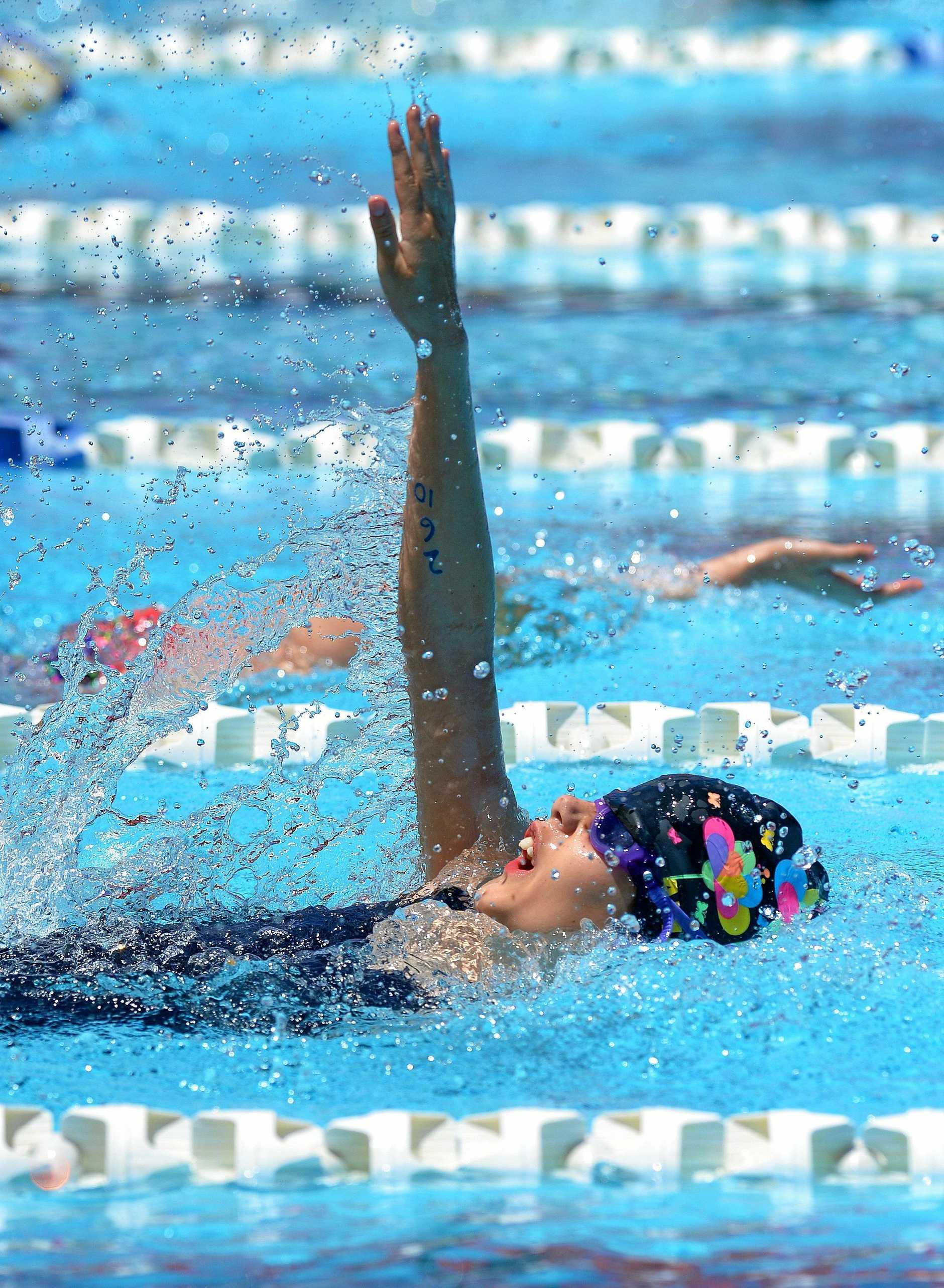 Action from the Woogaroo Swimming Carnival held at Bundamba Swim Centre on Saturday. 8-11yrs 50 backstroke.
