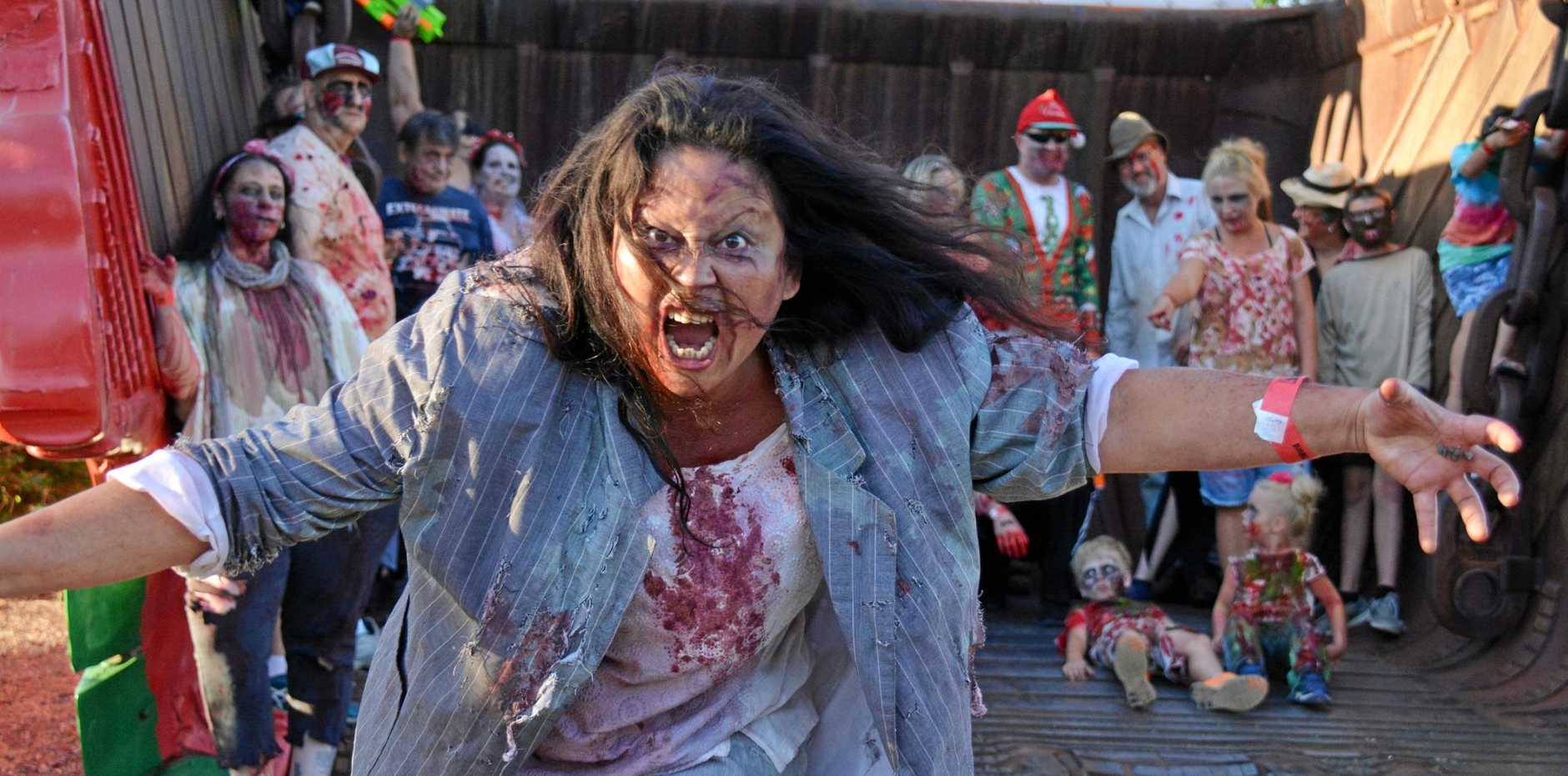 ZOMBIES: Stella Wade approaches during the Nanango Zombie Walk to Hannibal's bucket on November 24.
