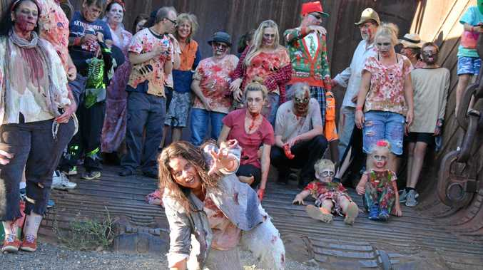 WALKING DEAD: Stella Wade approaches during the Nanango Zombie Walk to Hannibal's bucket on November 24.