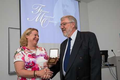 HUGE SUCCESS: 2018 Farrer Memorial Medal winner Dr Reg Lance and DPI Deputy Director General Kate Lorimer-Ward.