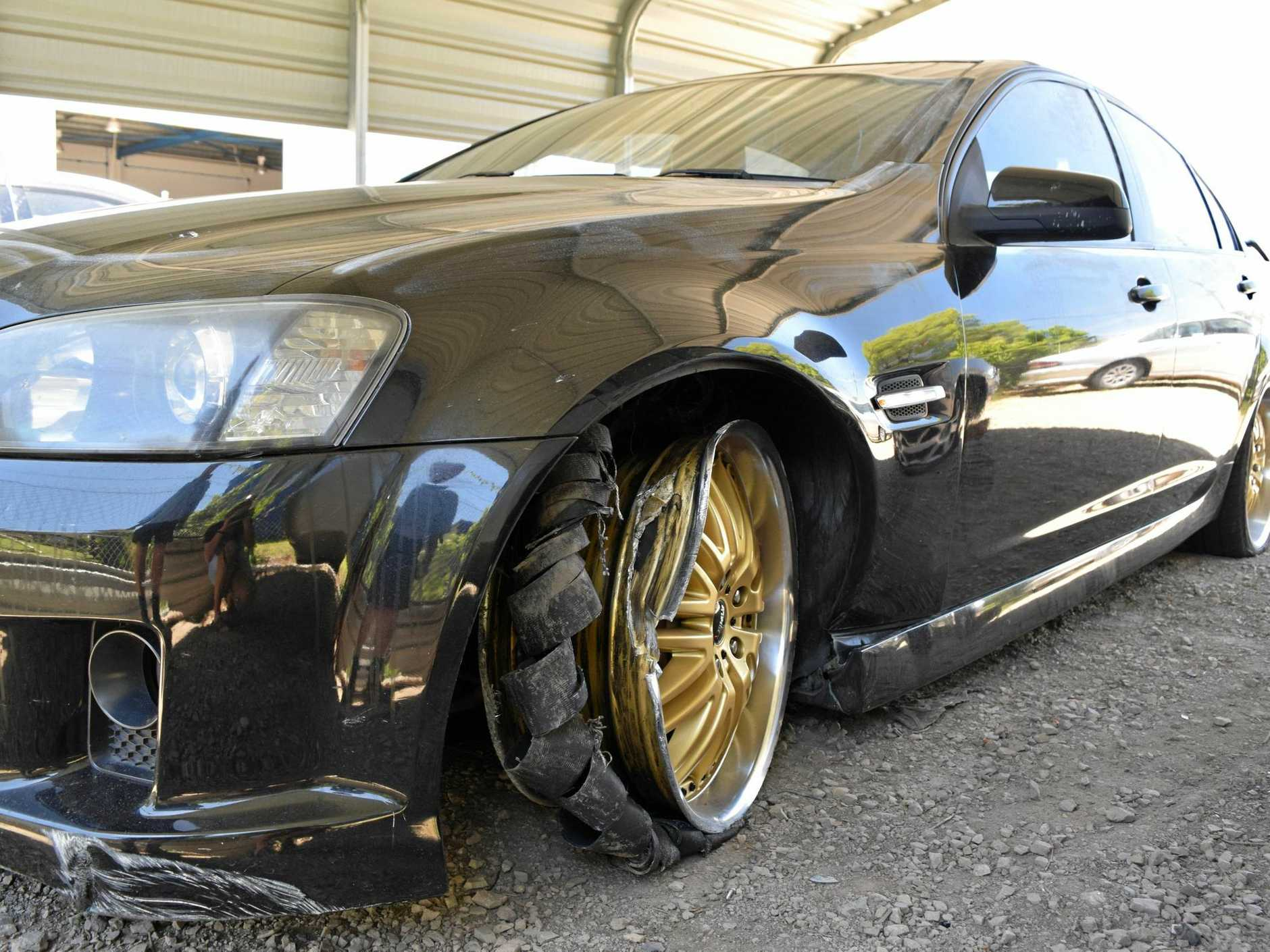 Tyres and rims of the Holden Commodore were destroyed after a police chase from Caloundra to Kawana on Sunday night.