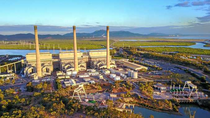 An aerial image captured by a drone of Gladstone Power Station.