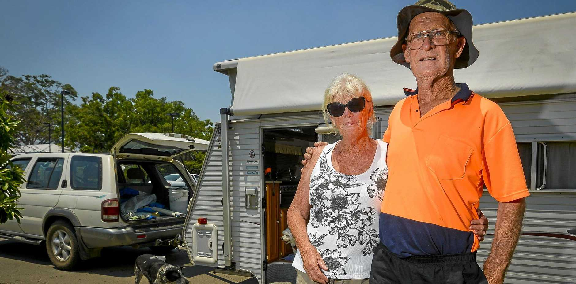 Bob and Debra Wait are living in their caravan opposite the Miriam Vale Community Centre with their 2 dogs, after being forced to evacuate their 40-acre property on Deepwater Road due to an extreme bushfire.