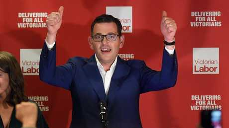 Labor leader Daniel Andrews celebrates his win in the Victorian state election. Picture: Julian Smith/AAP