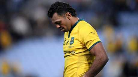 Kurtley Beale, Australia's only Aboriginal player, was not able to wear the jersey emblazoned with an indegenous design. Picture: AAP
