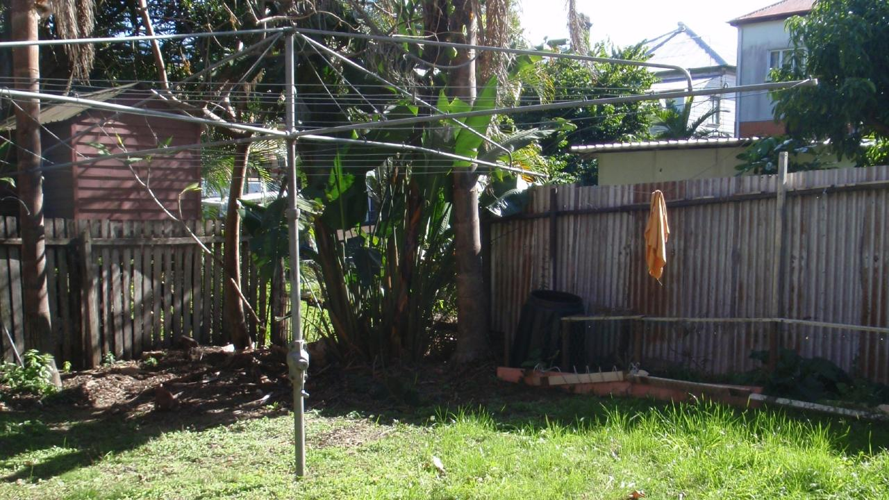 The back of the property at 17 Hove St, Highgate Hill, before the renovation.