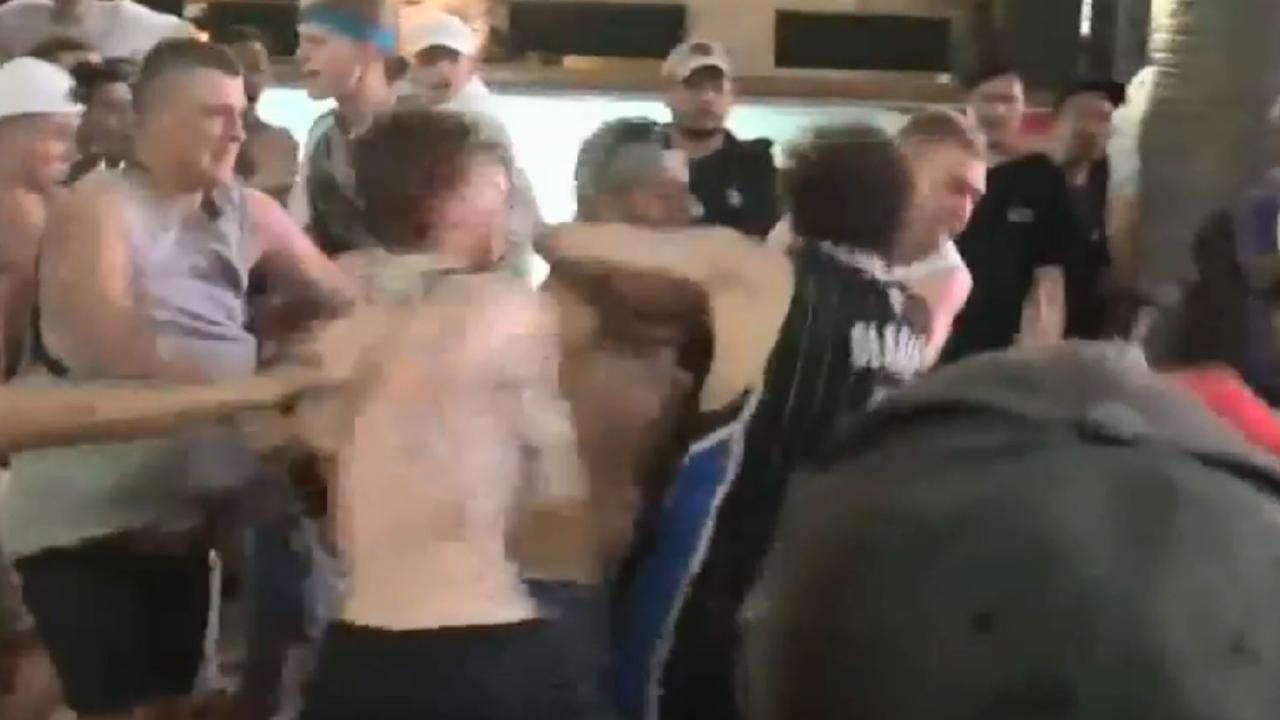 A violent brawl has been caught on camera as Schoolies celebrators wreak havoc in Bali.