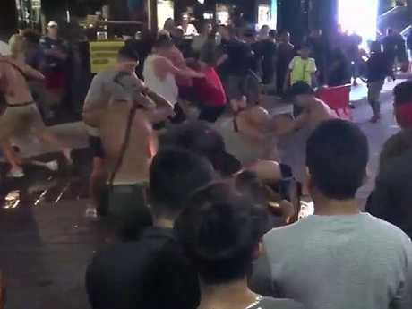 The boys were filmed getting into an all-out brawl. Picture: Channel 9