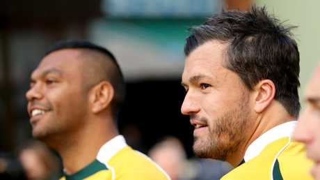 Kurtley Beale (L) and Adam Ashley-Cooper paid a heavy price for their error. Picture Gregg Porteous
