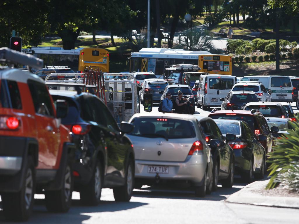 Drivers who block intersections slow the whole flow of traffic. Picture: AAP Image/Claudia Baxter
