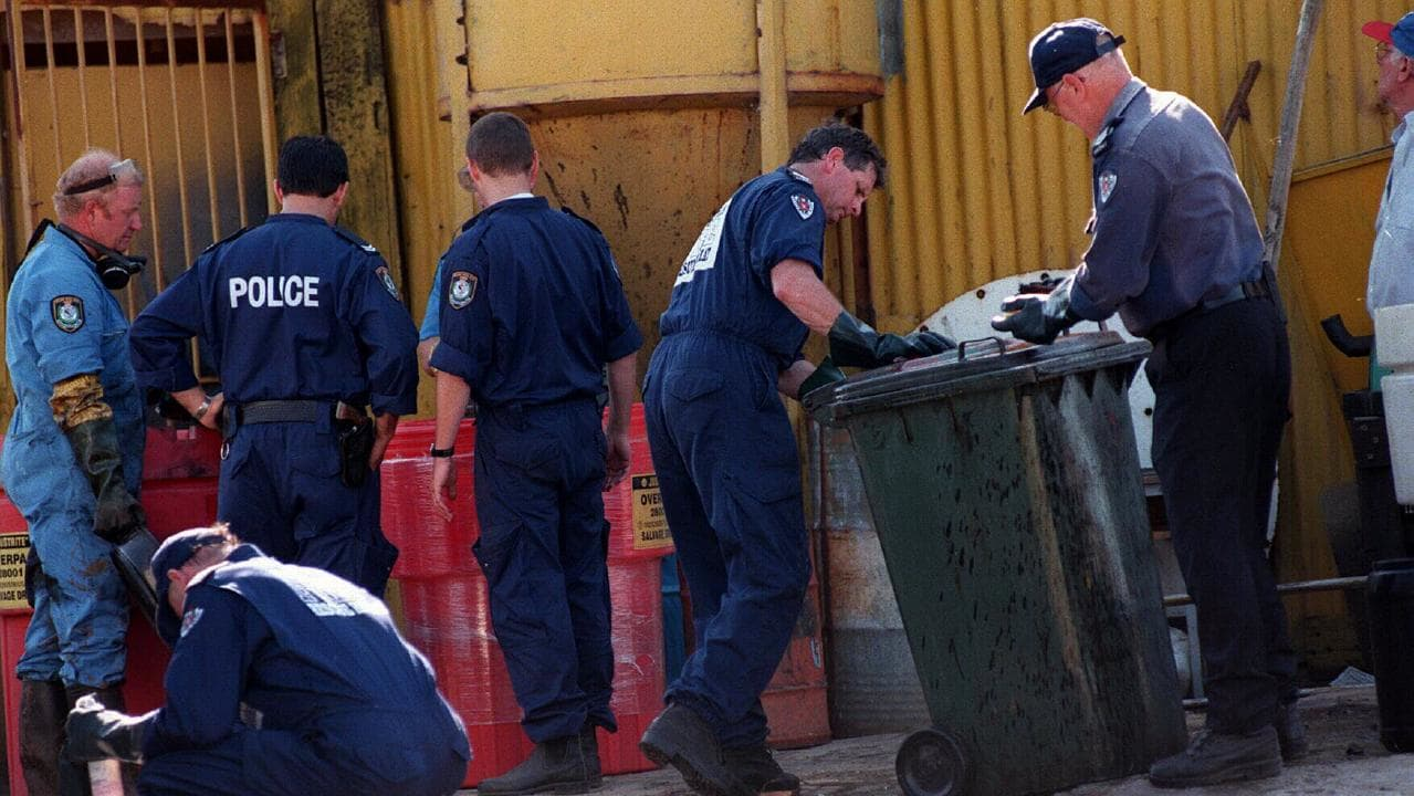 Police and fire officers searching Wentworth Radiators after discovering Podgoyetsky in acidbath in a wheelie bin.