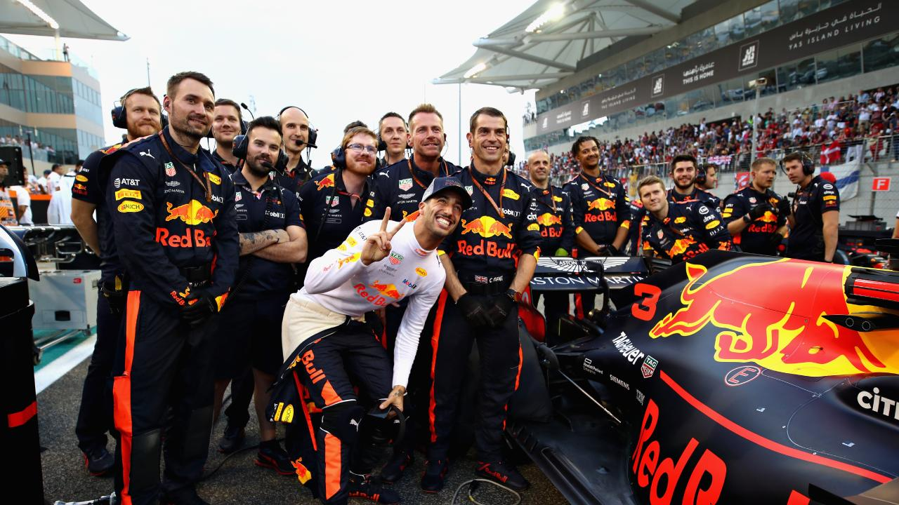 Daniel Ricciardo with the Red Bull team before his final race. Picture: Getty