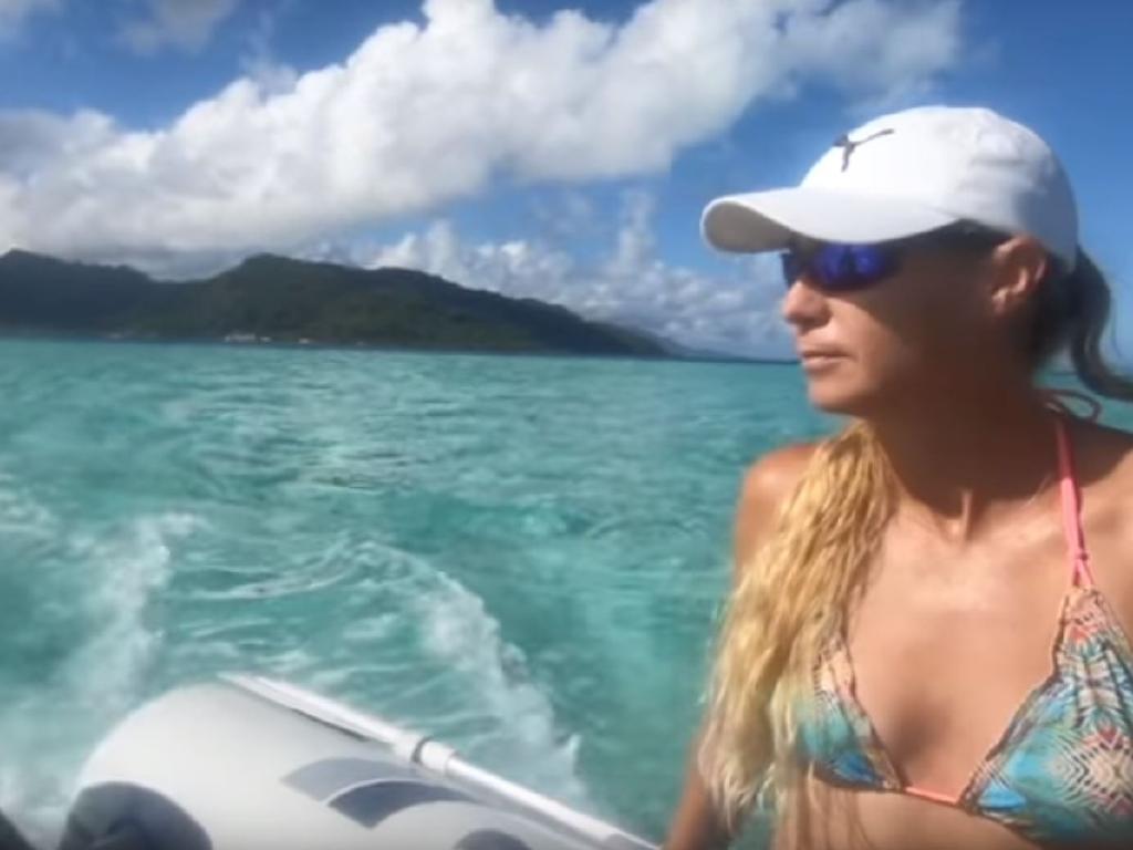 Yvette Nikolic on board the couple's yacht, Shenanigans.