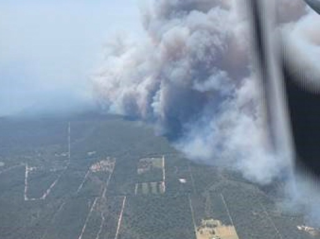 Aerial view of the central Queensland fire front. Picture: Queensland Fire and Emergency Services `