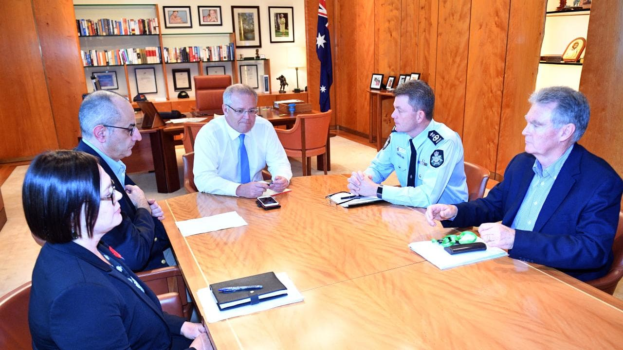 Department of Home Affairs Secretary Mike Pezzullo, Prime Minister Scott Morrison, Australian Federal Police Commissioner Andrew Colvin and ASIO Director-General of Security Duncan Lewis. Picture: AAP/Mick Tsikas