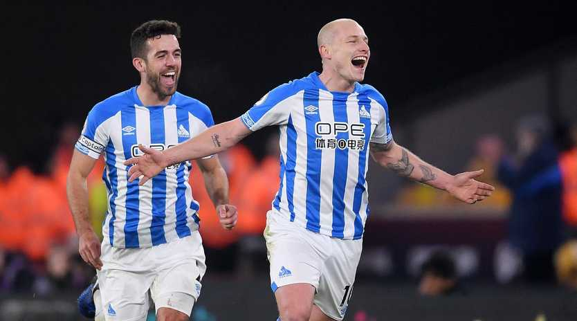 Aaron Mooy celebrates scoring his double. Picture: Getty