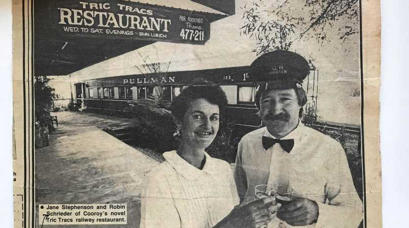 Noosa News article with Rohan Schneider and Jane Stephenson pictured, owners of Tric Tracs restaurant, 1988.