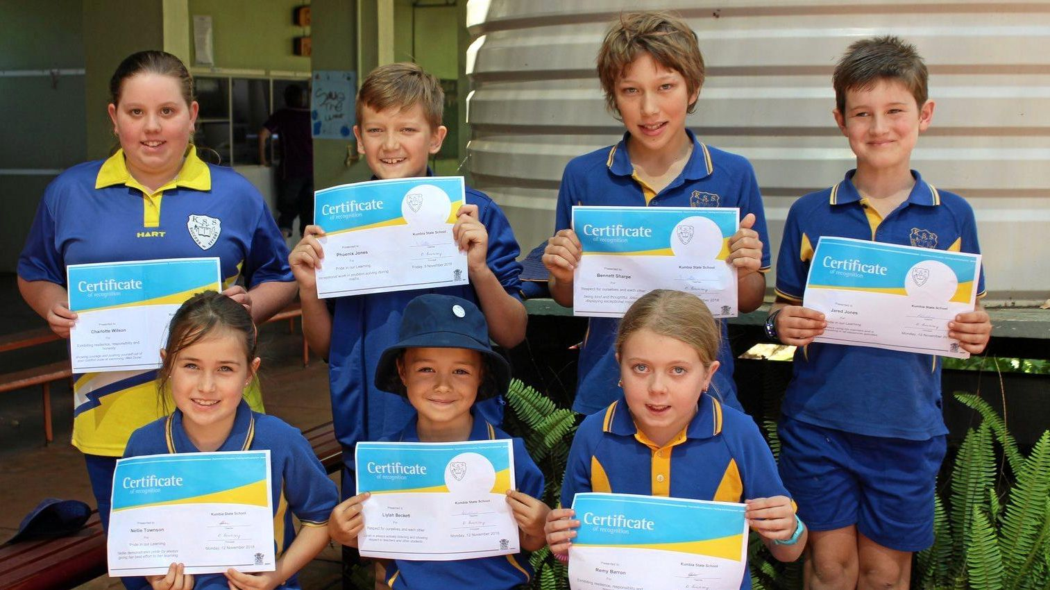 SUPER SCHOOL: Kumbia State School's weekly PRIDE awards winners: Back row from left to right: Charlotte Wilson, Phoenix Jones, Bennett Sharpe, Jared Jones. Front Row: Nellie Towson, Liylah Beckett, Remy Barron. Awards are presented to children who have demonstrated the five PRIDE values: pride in learning, respect for ourselves and each other, important relationships, demonstrate safe and healthy choices and exhibit resilience, responsibility and honesty. Each week two or more students from each class are presented with a PRIDE award at the primary school's weekly parade.
