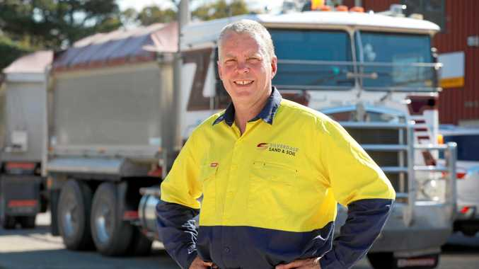 HUMBLE HERO: Silverdale Sand and Soil truck driver Brendan Gilbert   stopped to help a motorcyclist who came off his bike on the M4.