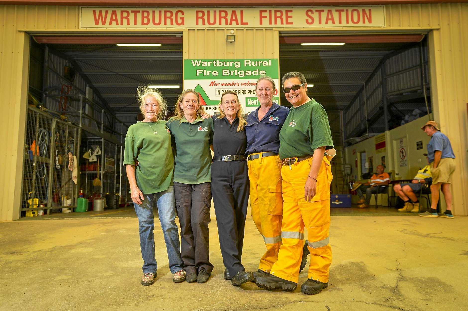 FIGHTING SPIRIT: Kay Harding, Margaret Paskevicius, Judy Ferrari, Karen Hale and Kiki Morgan of the Wartburg Rural Fire Brigade.