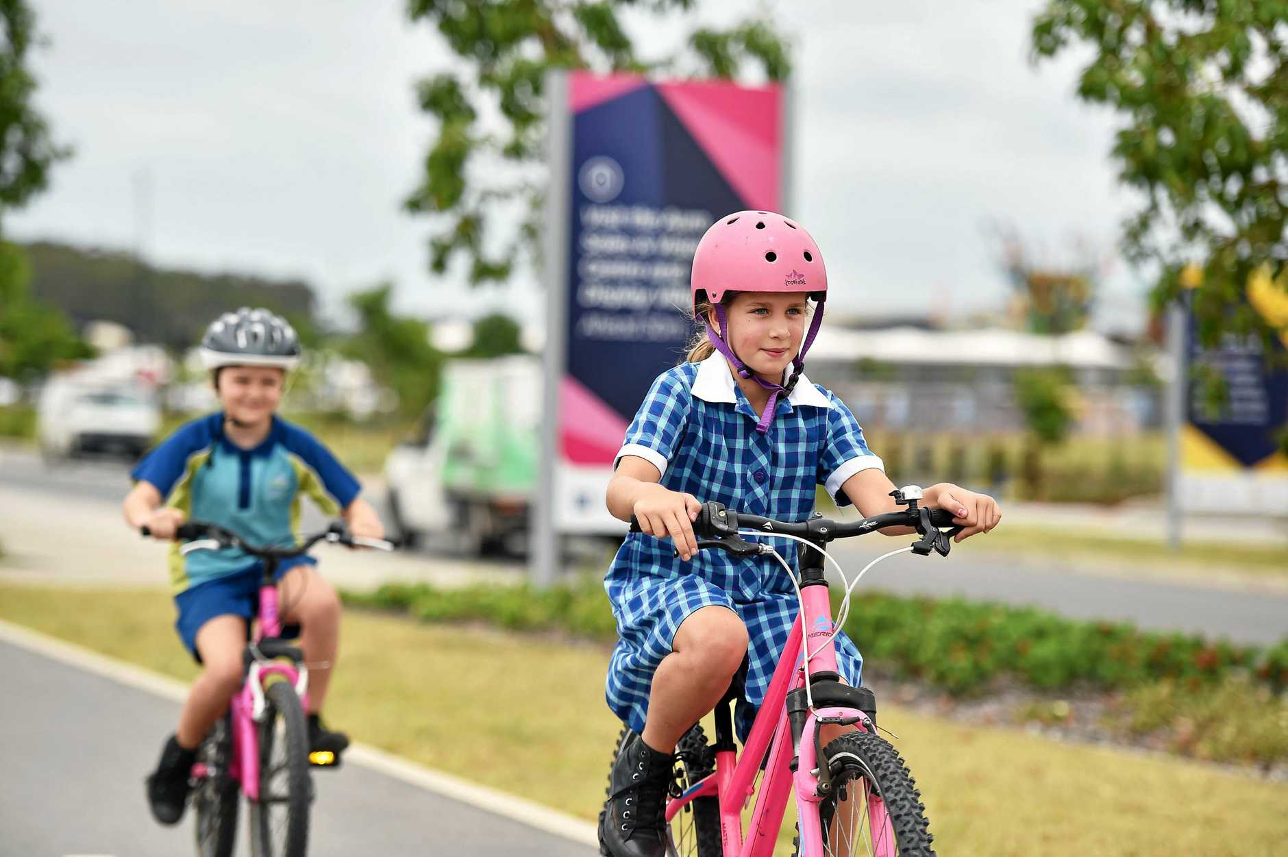 Stockland has partnered with the Australian Cycling Association to launch Auras cycling city, an initiative to get more people on their bikes. Jasmin Askew, 9, and Sophie Jelicich, 8, say they love using Auras cycle pathways to ride to school and visit the local parks with friends.