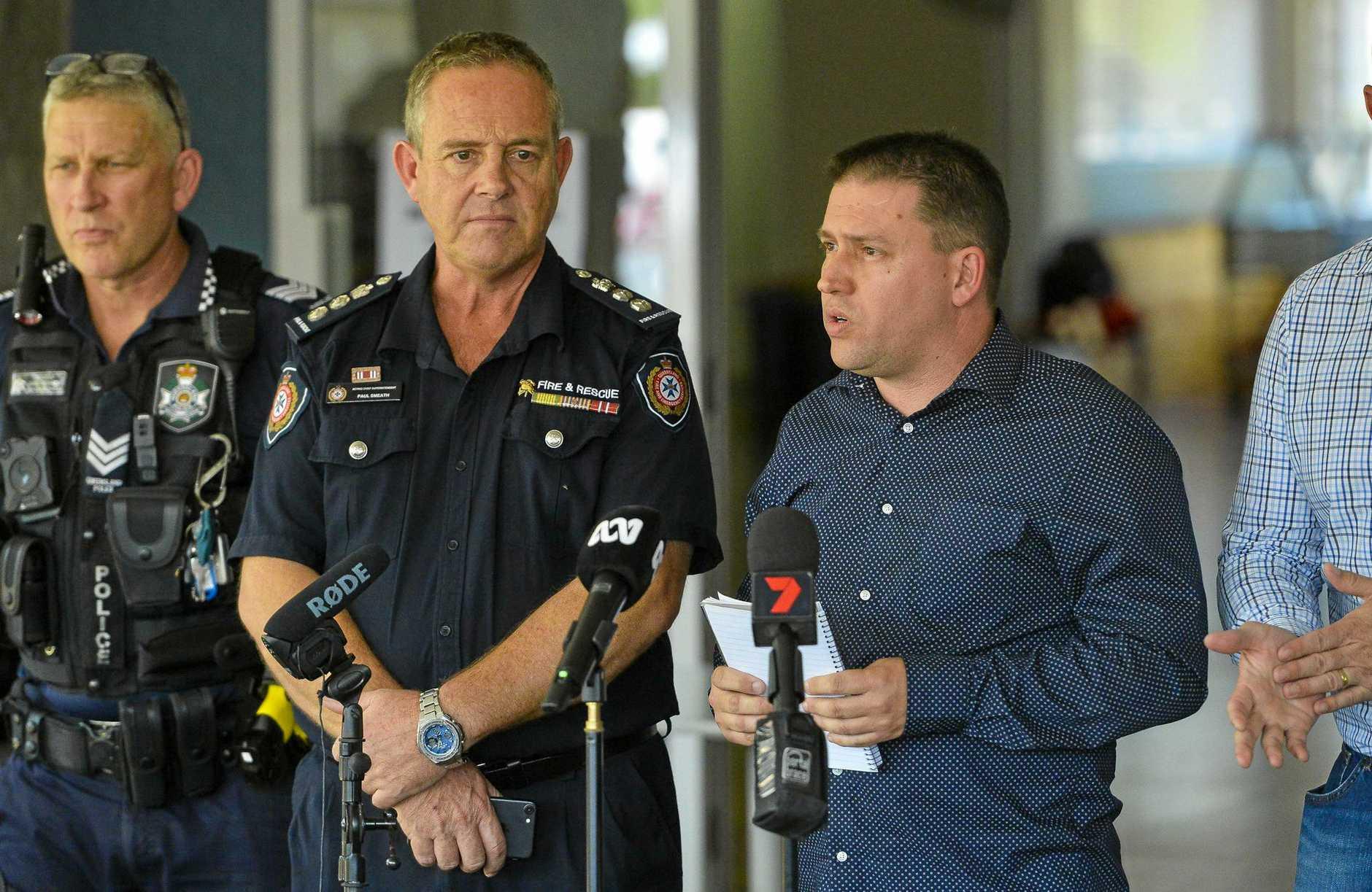 Gladstone mayor Matt Burnett updates the media regarding the Deepwater bushfire.