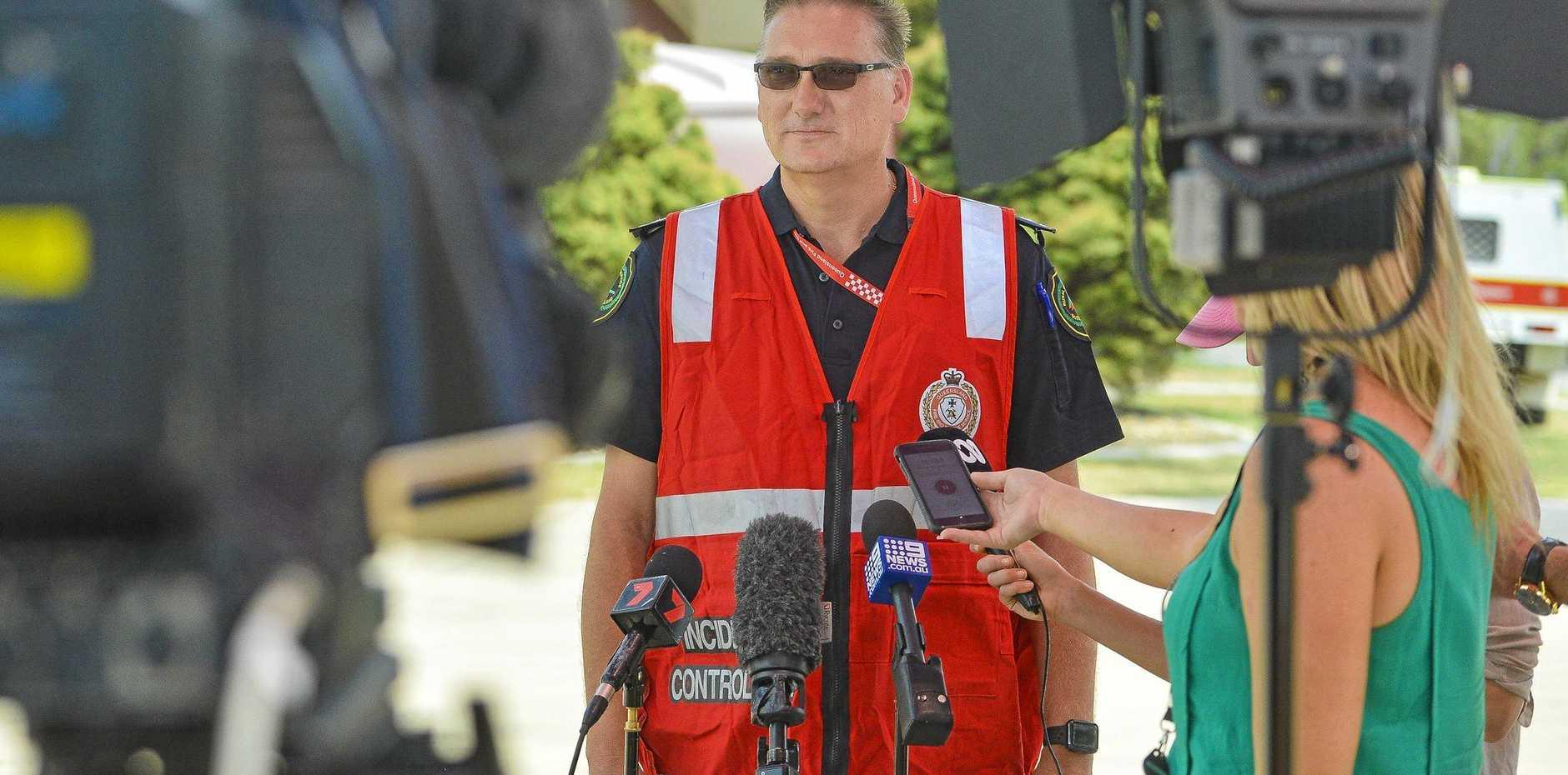 Area director Craig Magick addresses the media regarding the Deepwater bushfire
