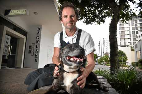 Mooloolaba chef Nathan Rumble has to take his dog 'Gypsy' to work because she is terrified of storms.