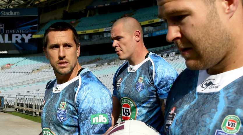 Mitchell Pearce and David Klemmer have been good mates since teaming up for the Blues. Picture: Gregg Porteous